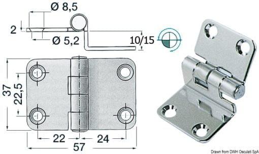 Winkelscharnier 57x37x15 mm - Art. 38.441.56 1