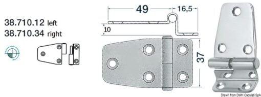 Winkelscharnier, links 65,5x37 mm - Art. 38.710.12 1