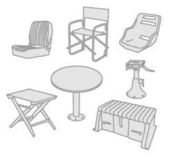 48 - Bootsstühle- Tische- Tischbeine- Geräteträger und Ablagen